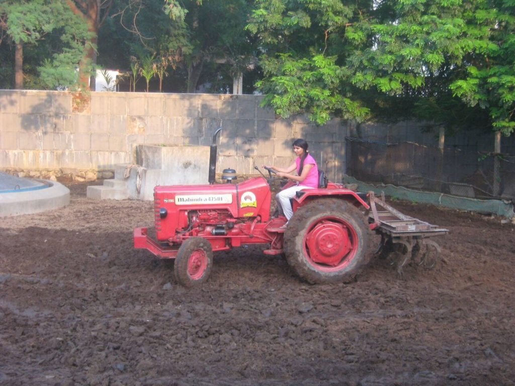 Suchitra S Rao ploughing Cow Grazing field @ an Animal Shelter